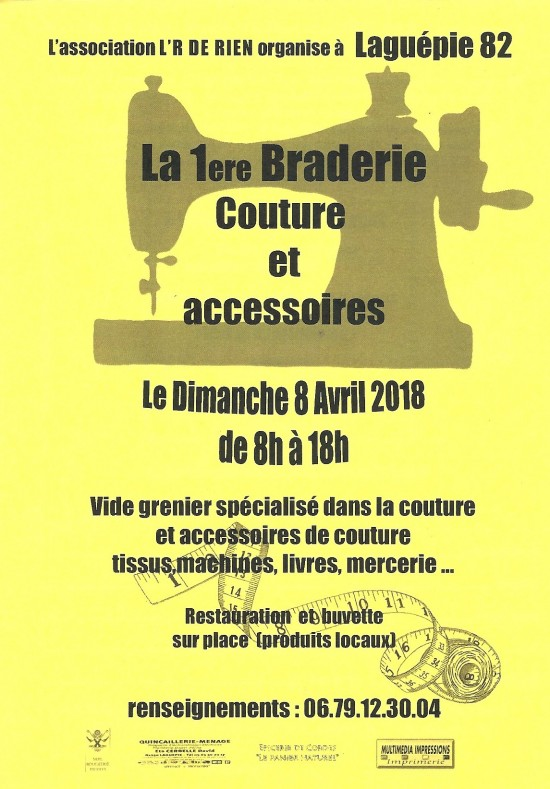 BRADERIE COUTURE 8 AVRIL 2018 à LAGUEPIE (82)